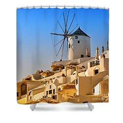 Santorini Windmill 05 Shower Curtain