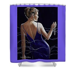 Sapphire Pearls And A Smile Shower Curtain