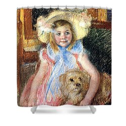Sara Holding Her Dog Shower Curtain by Marry Cassatt