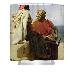 Saracens In Front Of Their Position Shower Curtain by Wilfred Vincent Herbert