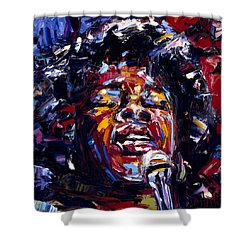 Sarah Vaughan Jazz Face Series Shower Curtain by Debra Hurd