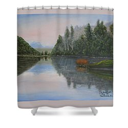 Sarita Lake On Vancouver Island Shower Curtain