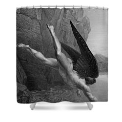 Satan Plunges Into The River Styx Shower Curtain by Richard Edmond Flatters