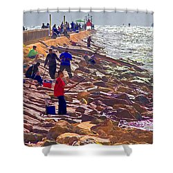 Shower Curtain featuring the photograph Saturday Morning On The Surfside Jetty by Gary Holmes