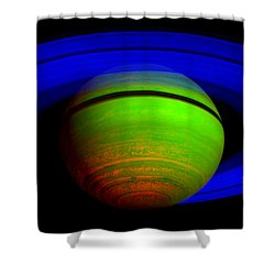 Saturn In Color Shower Curtain by Paul Ward