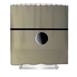 Saturn Rhea Contemporary Abstract Shower Curtain by Adam Romanowicz