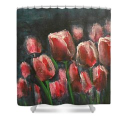 Saucy Tulips 3 Shower Curtain by Jane See