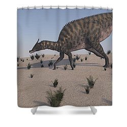 Saurolophus Walking Across A Barren Shower Curtain by Kostyantyn Ivanyshen