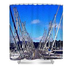 Sausalito Sailboats Shower Curtain by Jerome Stumphauzer