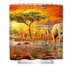 Savanna Pool Shower Curtain by Adrian Chesterman