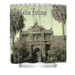 Savannah Cotton Exchange - Old Ink Shower Curtain by Art America Gallery Peter Potter