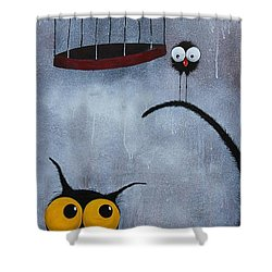Save The Bird Shower Curtain by Lucia Stewart