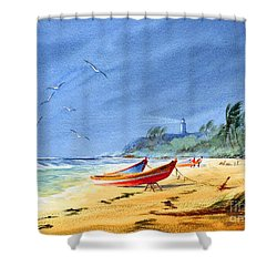 Saving The Fishing Boats - Maunabo Beach Puerto Rico Shower Curtain by Bill Holkham