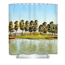 Shower Curtain featuring the painting Sawgrass Tpc Golf Course 17th Hole by Bill Holkham