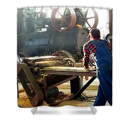 Shower Curtain featuring the photograph Sawmill Planer In Action by Pete Trenholm