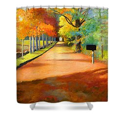 Sawmill Road Autumn Vermont Landscape Shower Curtain by Catherine Twomey