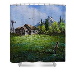 Sawtooth Mountain Homestead Shower Curtain by C Steele