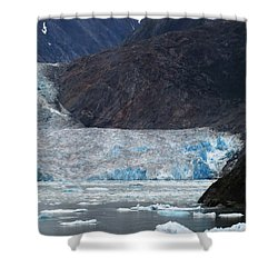 Shower Curtain featuring the photograph Sawyer Glacier Blue Ice by Jennifer Wheatley Wolf