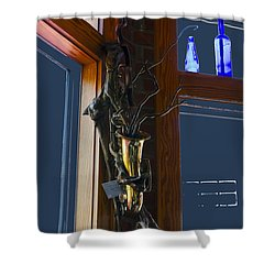 Shower Curtain featuring the photograph Sax At The Full Moon Cafe by Greg Reed