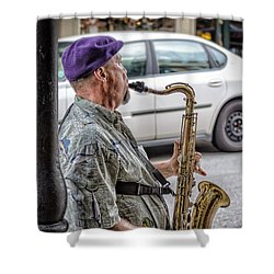 Sax In The Street Shower Curtain