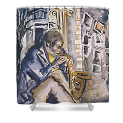 Sax Player, 1998 Wc On Paper Shower Curtain