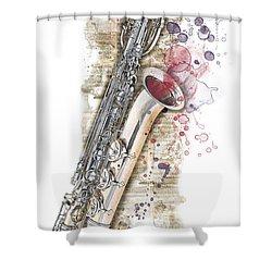 Saxophone 01 - Elena Yakubovich Shower Curtain by Elena Yakubovich