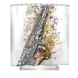 Saxophone 02 - Elena Yakubovich Shower Curtain