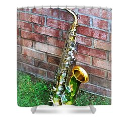 Saxophone Against Brick Shower Curtain