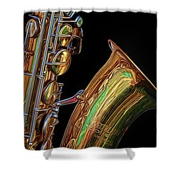 Shower Curtain featuring the photograph Saxophone by Dave Mills