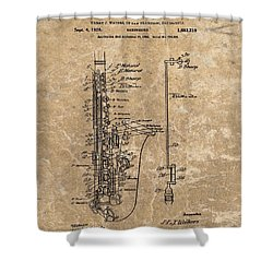 Saxophone Patent Design Illustration Shower Curtain by Dan Sproul