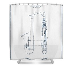 Saxophone Patent Drawing From 1899 - Blue Ink Shower Curtain by Aged Pixel