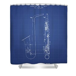 Saxophone Patent From 1899 - Blueprint Shower Curtain by Aged Pixel