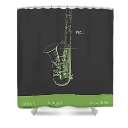 Saxophone Patent From 1937 - Gray Green Shower Curtain
