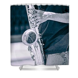 Saxophone Player On Street Shower Curtain by Carolyn Marshall