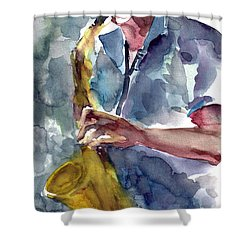 Shower Curtain featuring the painting Saxophonist by Faruk Koksal