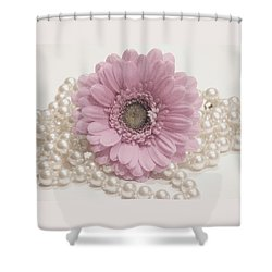 Say It With Pearls Shower Curtain by Angela Davies