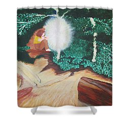 Shower Curtain featuring the painting Saying Hello by Cheryl Bailey