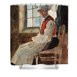 Scandinavian Peasant Woman In An Interior Shower Curtain by Alexandre Lunois