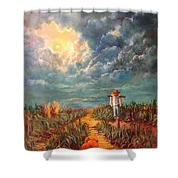 Scarecrow Moon Pumpkins And Mystery Shower Curtain