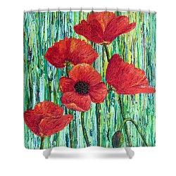 Shower Curtain featuring the painting Scarlet Blooms by Susan DeLain