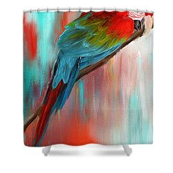Scarlet- Red And Turquoise Art Shower Curtain by Lourry Legarde