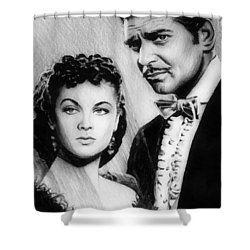 Scarlett And Rhett Shower Curtain by Andrew Read