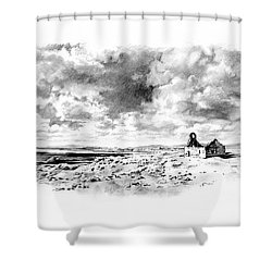 Shower Curtain featuring the drawing Bleak Chapel by Paul Davenport