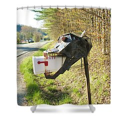 Shower Curtain featuring the photograph Scary Mailbox by Sherman Perry