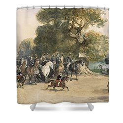 Scene In Hyde Park Shower Curtain by Eugene-Louis Lami