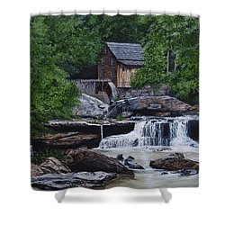 Scenic Grist Mill Shower Curtain by Vicky Path