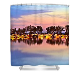 Scenic Sunset Shower Curtain by Frozen in Time Fine Art Photography