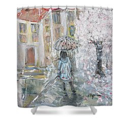 Shower Curtain featuring the painting Scent Of Spring by Evelina Popilian