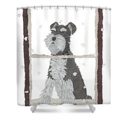 Schnauzer Art Hand-torn Newspaper Collage Art Shower Curtain by Keiko Suzuki Bless Hue