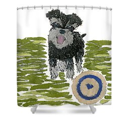 Schnauzer Art Hand-torn Newspaper Collage Art Dog Portrait Shower Curtain by Keiko Suzuki Bless Hue